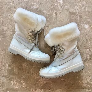 Coach Leonora Lined White Lace Up Winter Boots 5.5